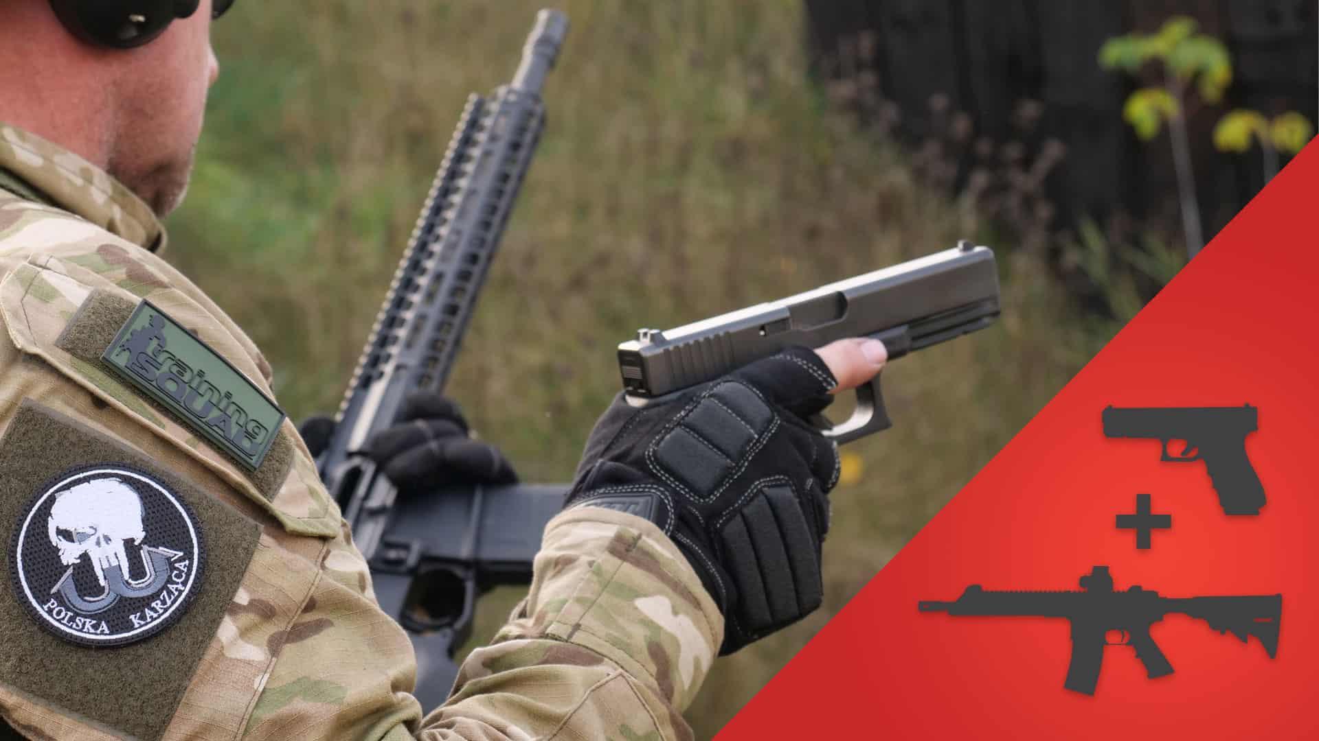 Fragment zaawansowanego szkolenia strzeleckiego Transition. Głównym celem szkolenia jest nauczenie adeptów strzelectwa bojowego technik przechodzenia z broni głównej na zapasową (z broni długiej na broń krótką).